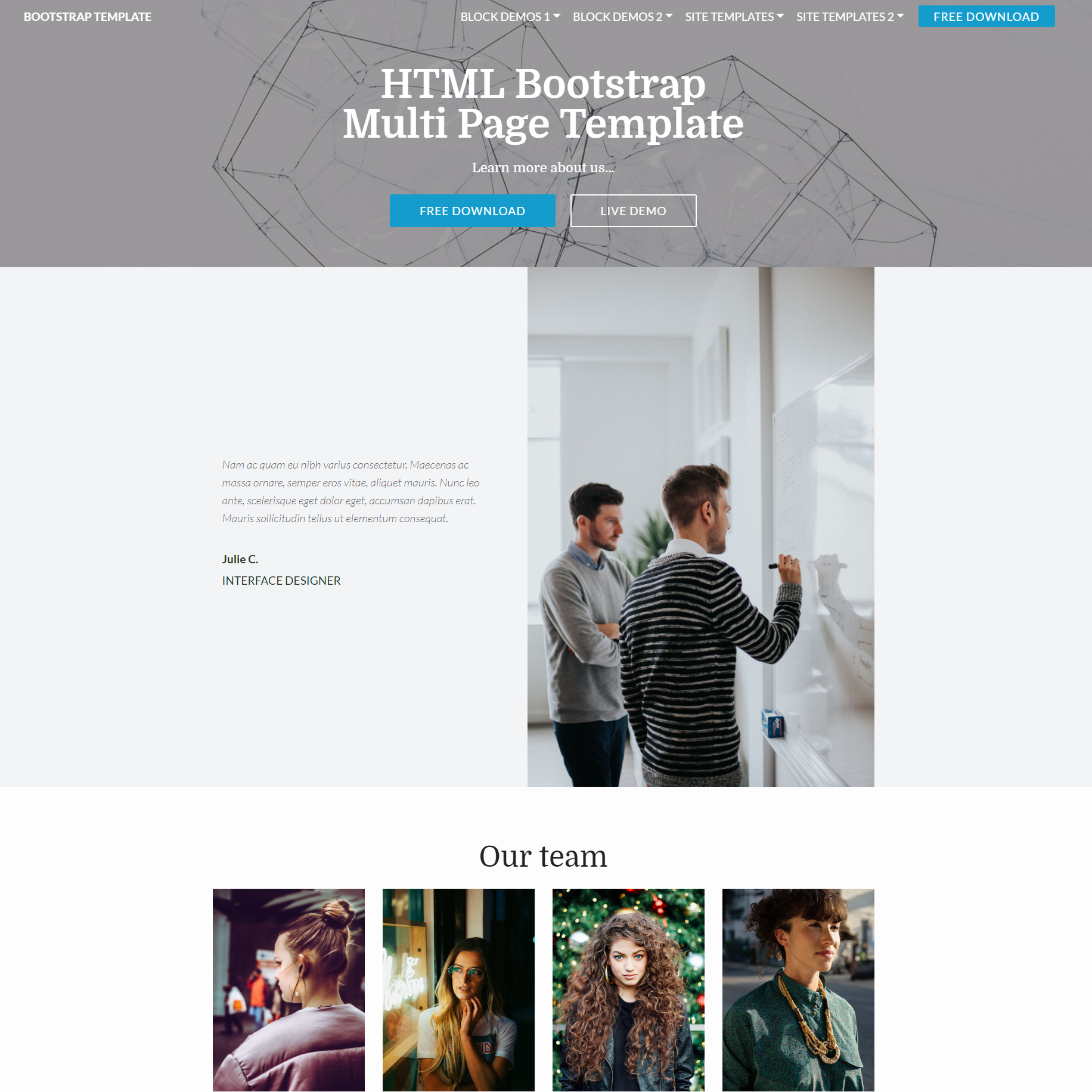 Free Download Bootstrap Multi page Templates
