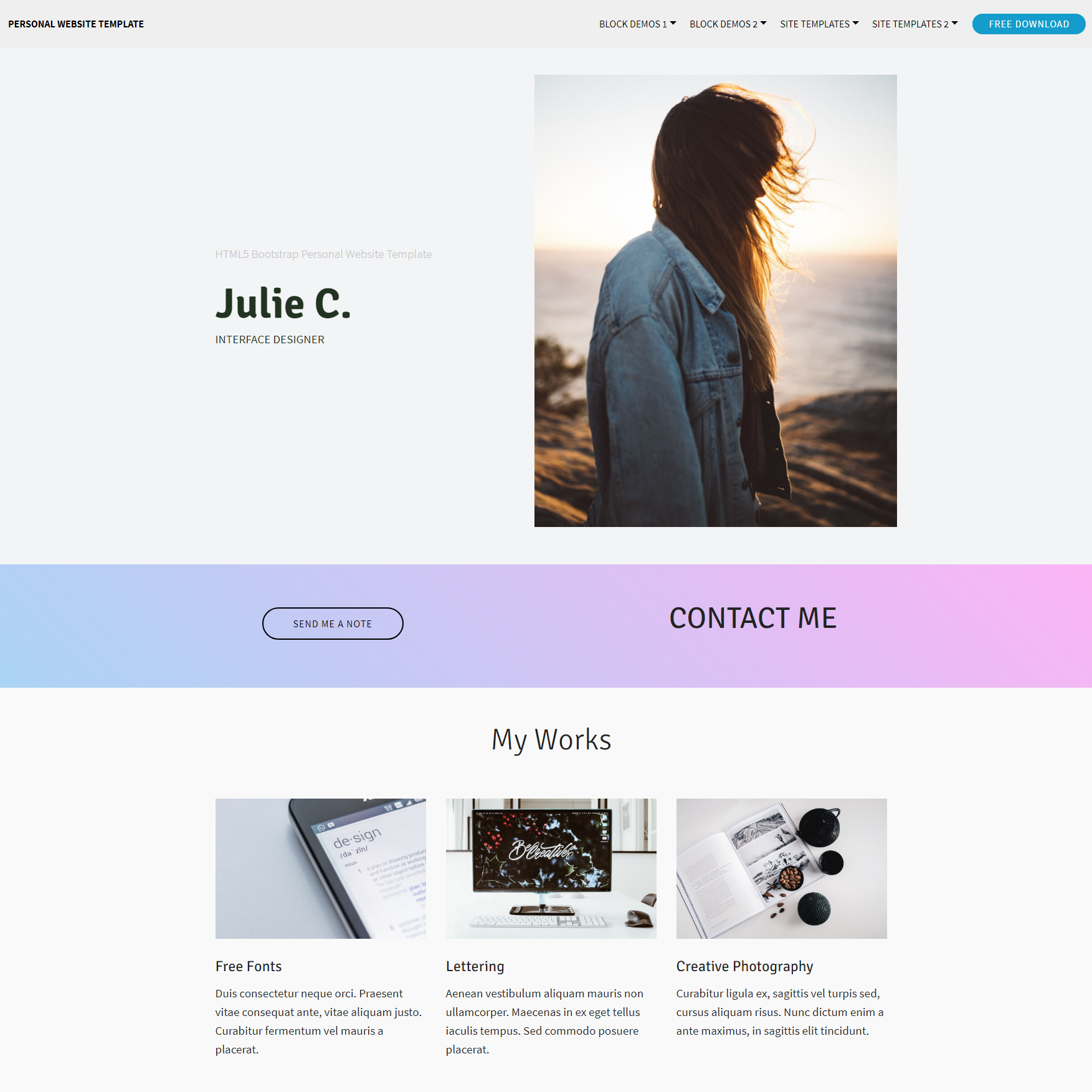 HTML Bootstrap Personal website Themes