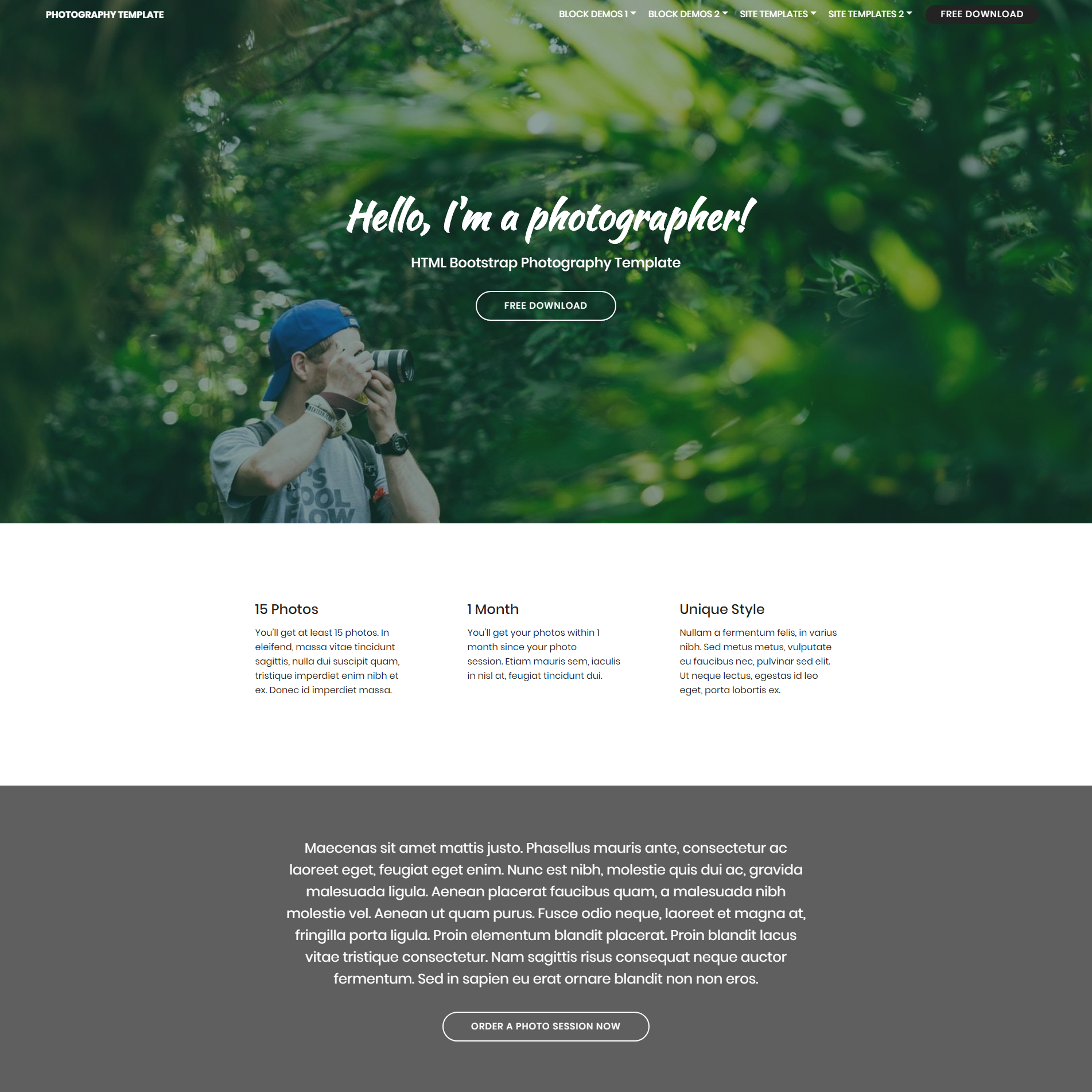 CSS3 Bootstrap Photography Templates