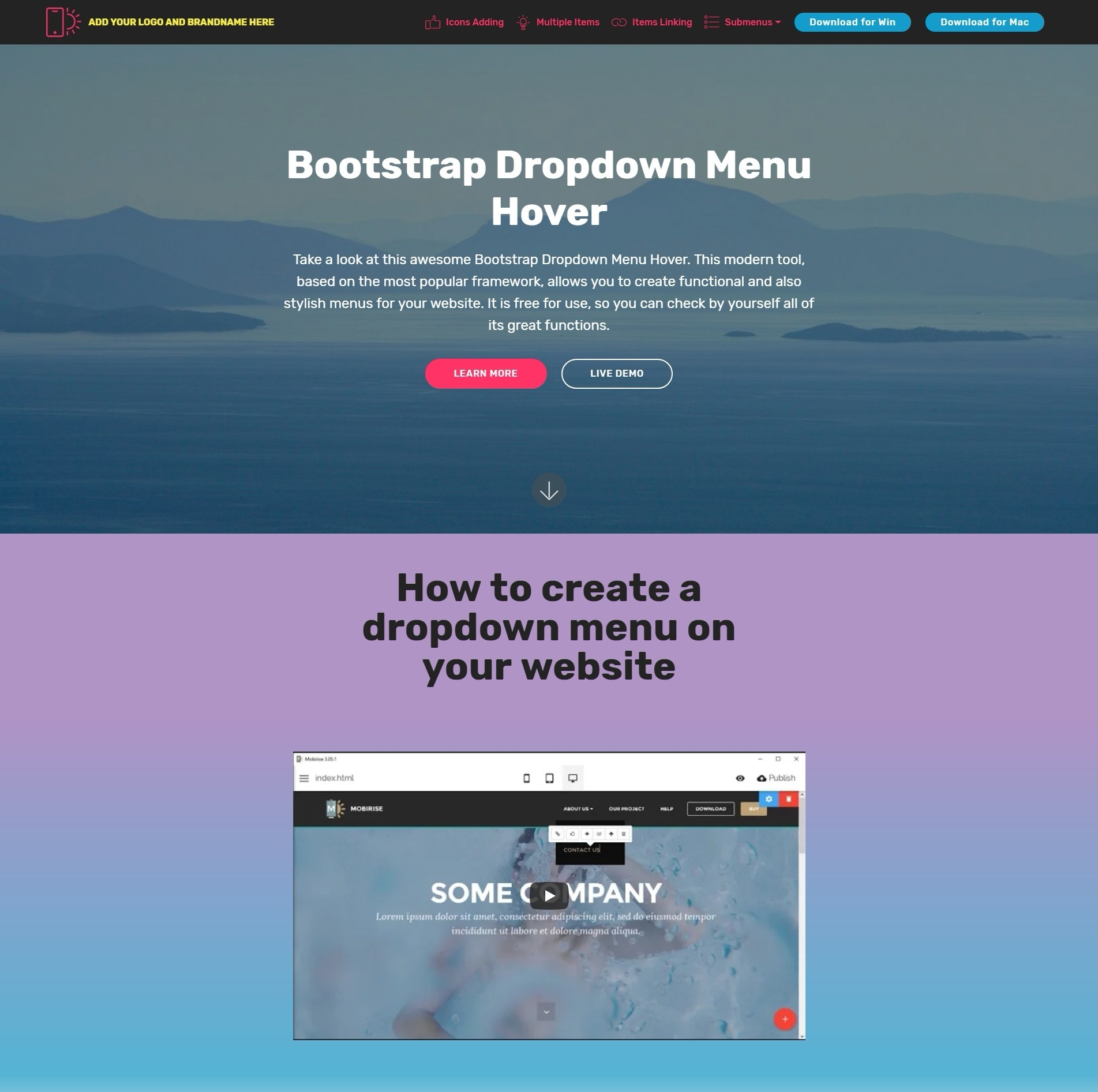 Nice and Simple Responsive Bootstrap Responsive Video Backgrounds