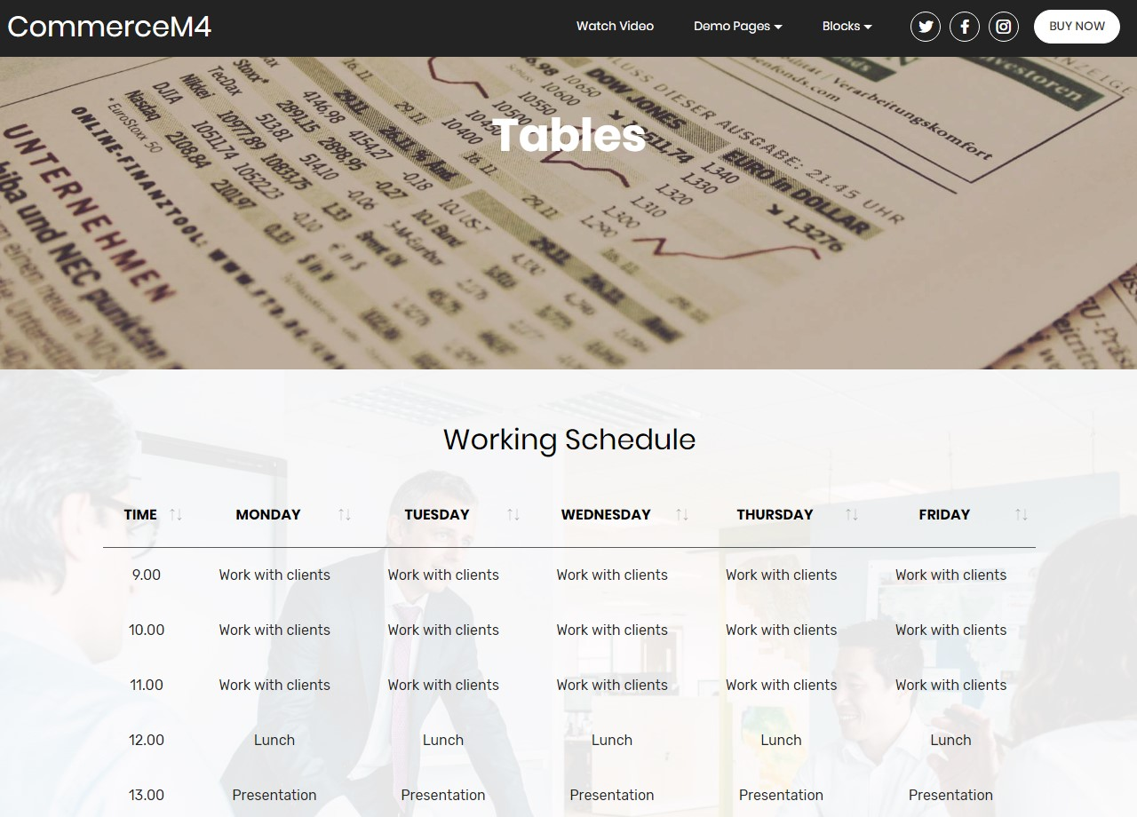 Tables Template for eCommerce Website