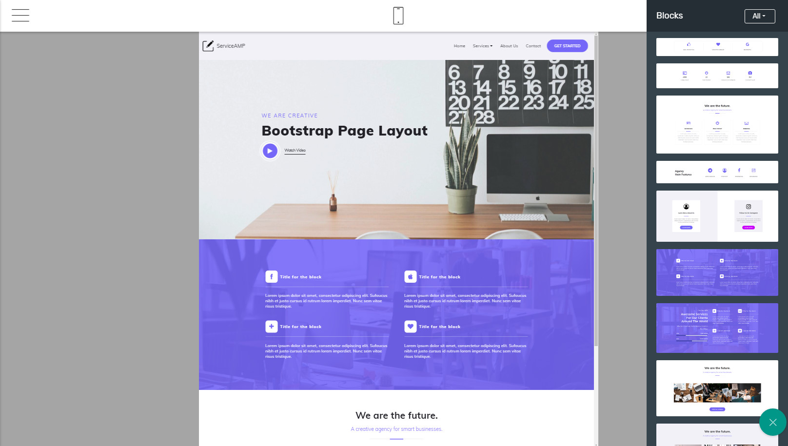 bootstrap page layout