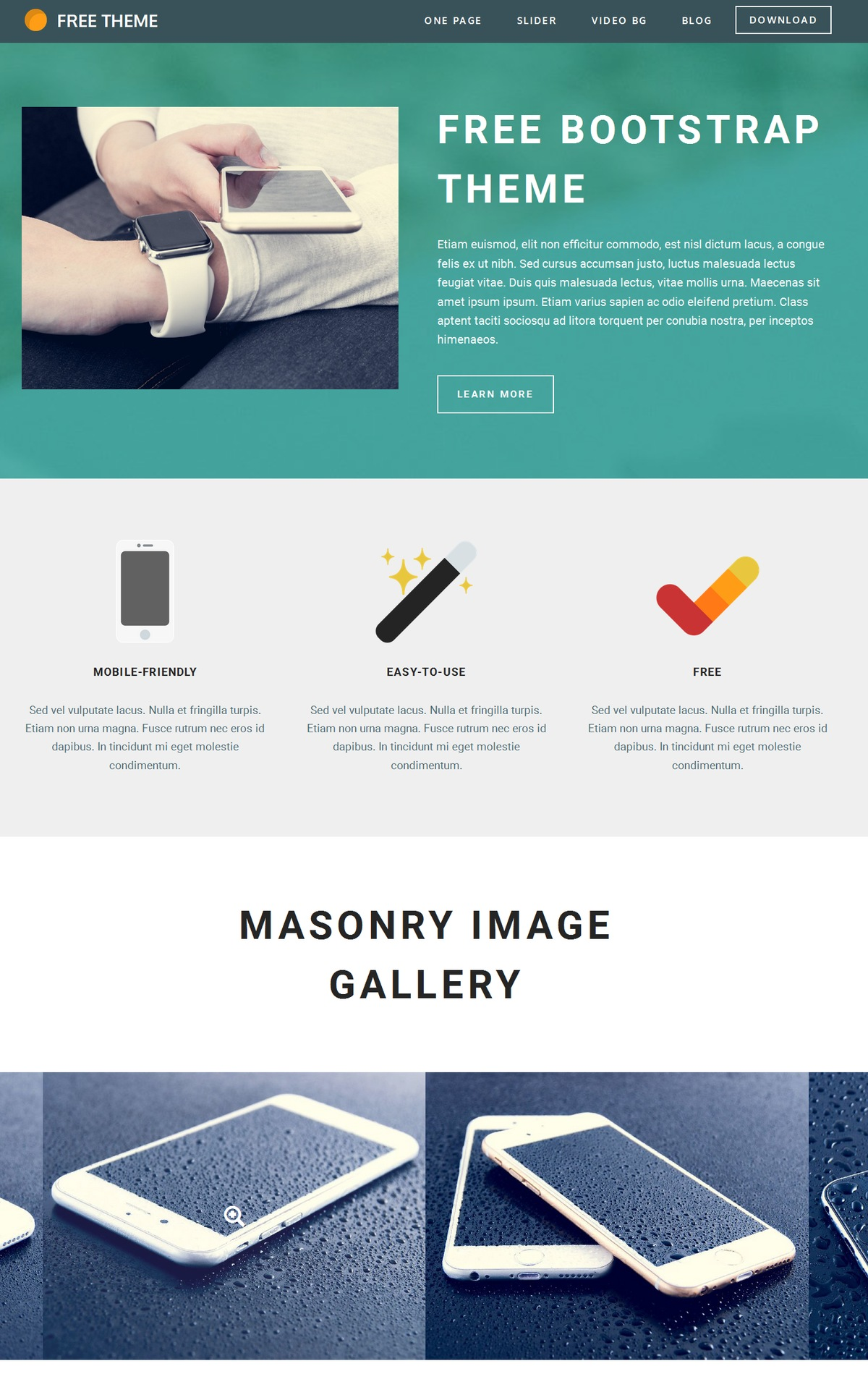 HTML5 Bootstrap One pageTheme