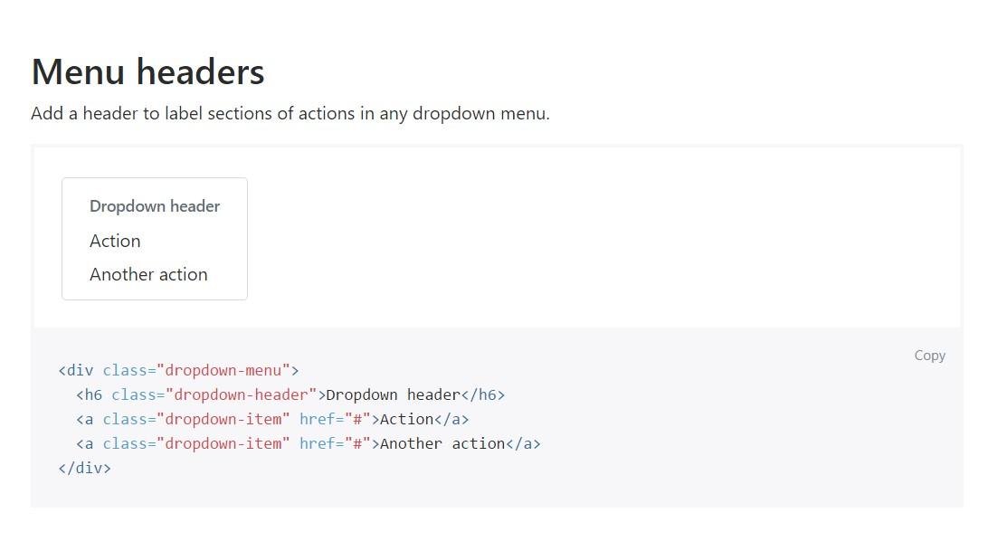 Bootstrap Header: official documentation