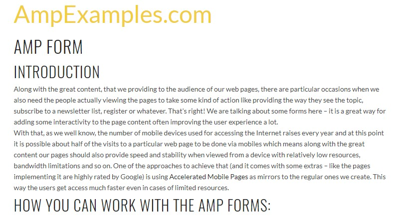 Let us  review AMP project and AMP-form element?