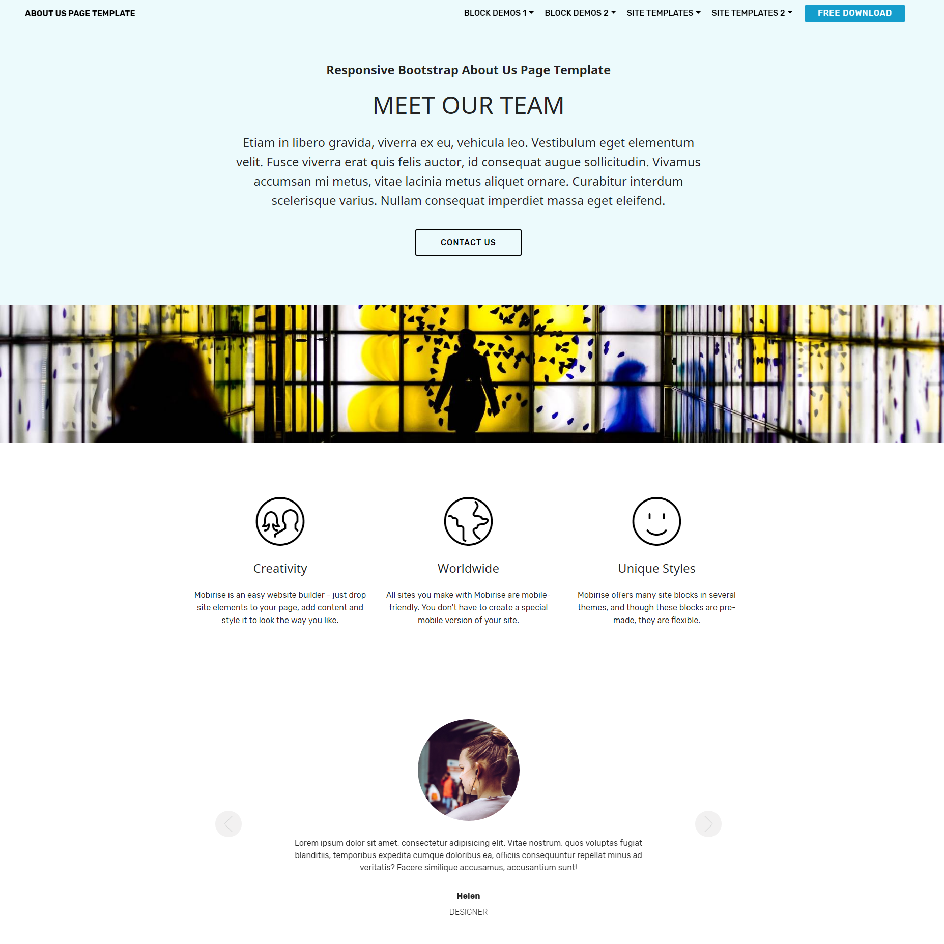 Responsive Bootstrap About Us Templates