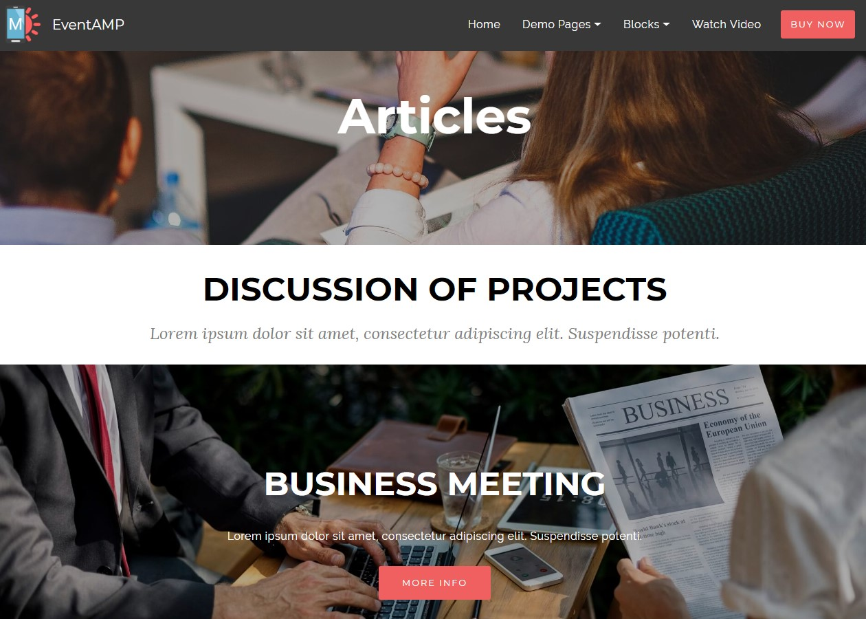 EventAMP HTML Articles Templates