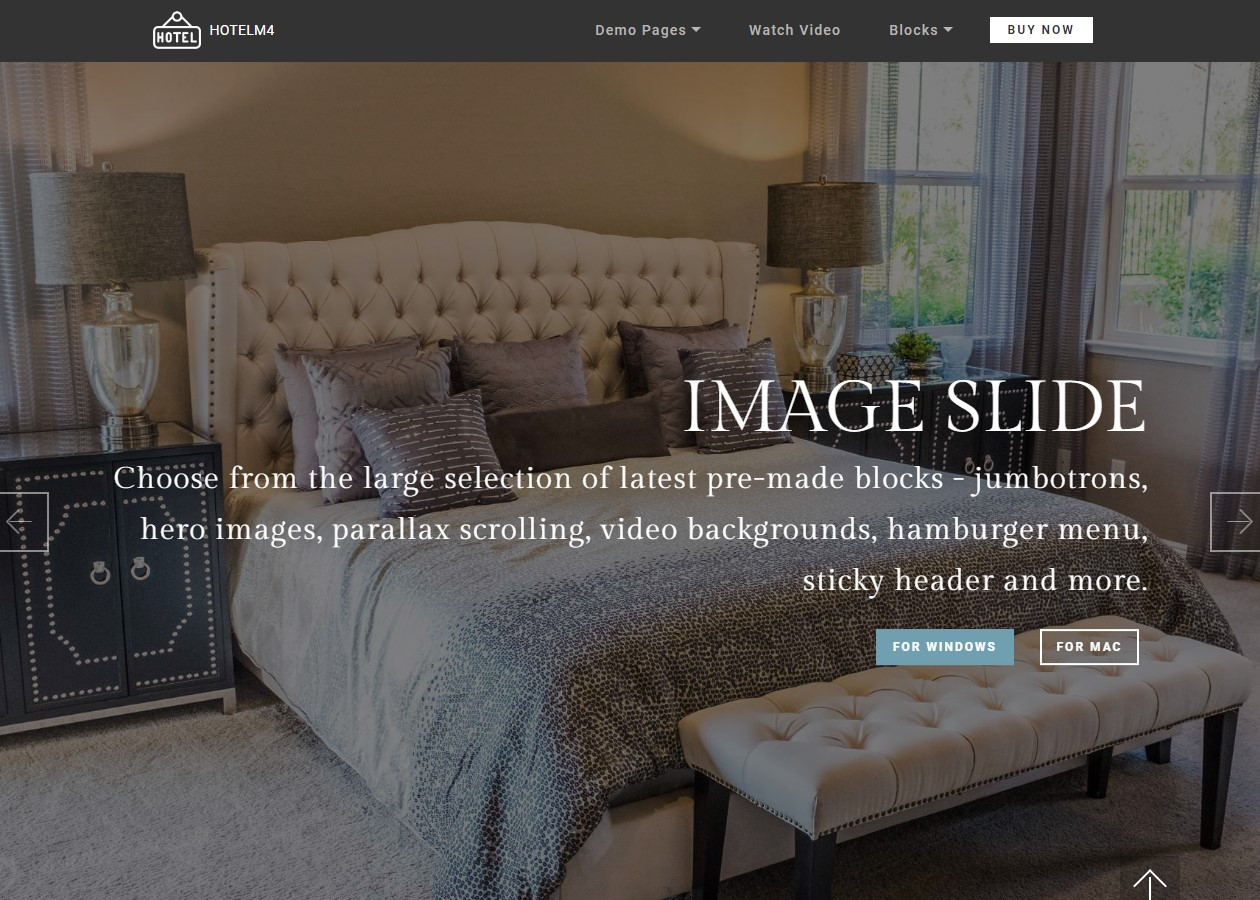 Sliders and Galleries Theme for Hotel Website