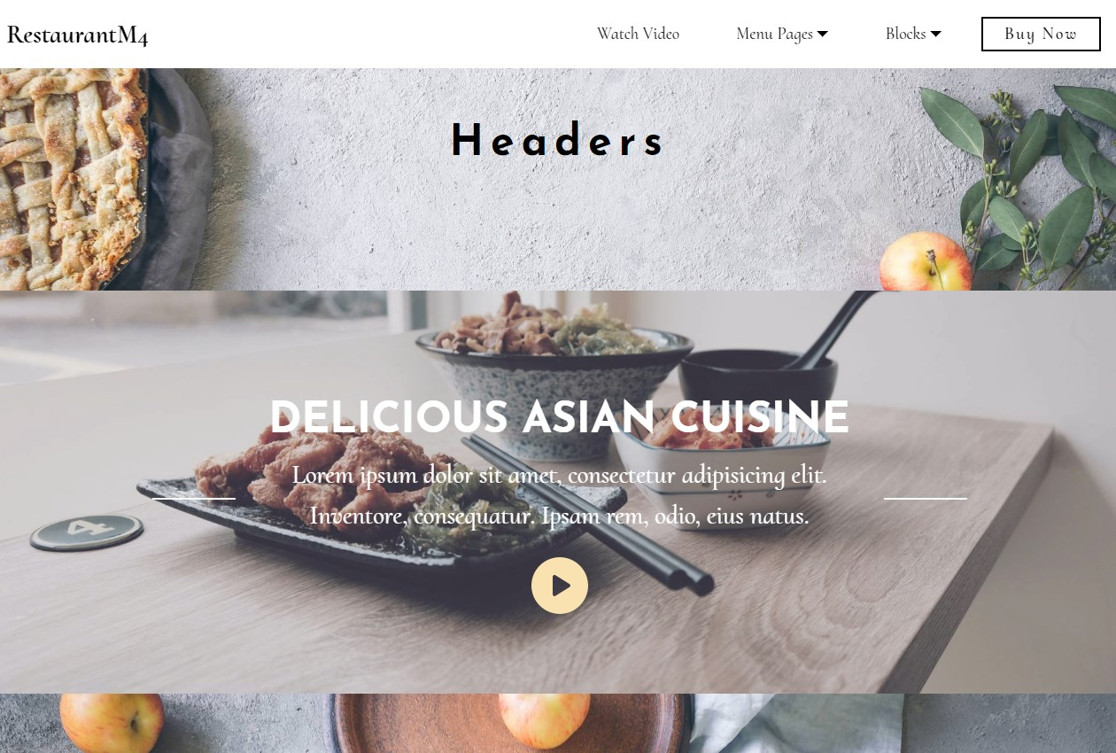 Responsive Bootstrap HTML Restaurant Headers Template